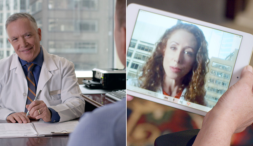 Physician delivers consultation in person and via video chat